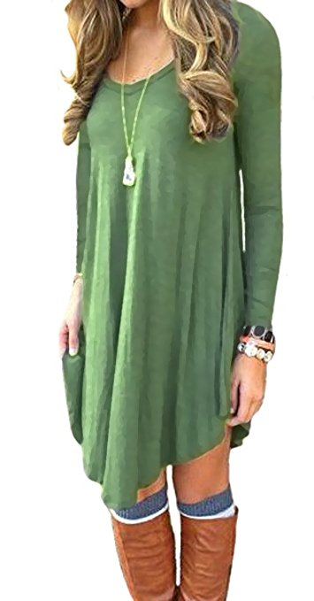Women's Long Sleeve Casual Loose T-Shirt Dress Army Green