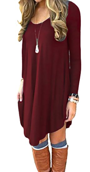 Women's Long Sleeve Casual Loose T-Shirt Dress Wine Red