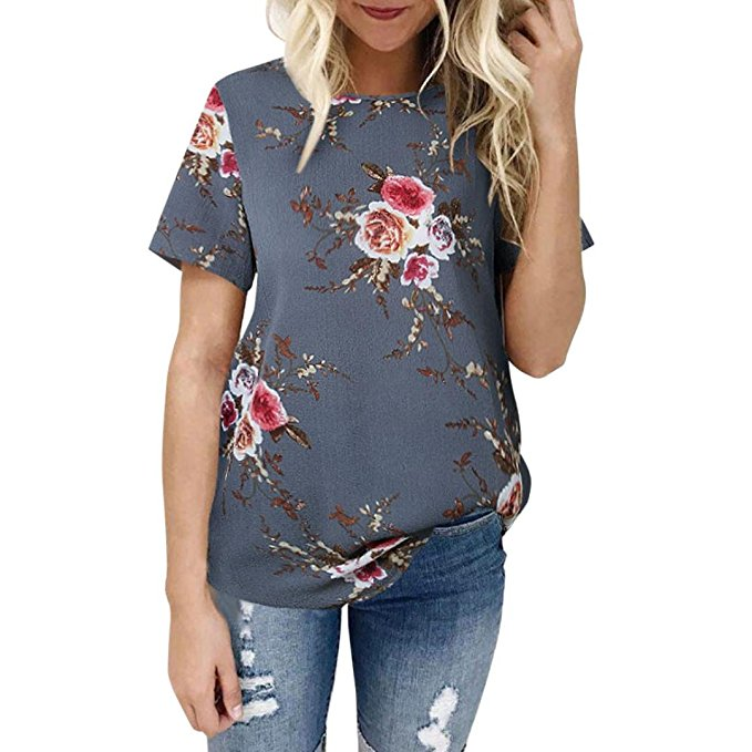 Women's Summer Casual Floral Printing T-Shirt Short Sleeve Chiffon Tops Blouse Gray