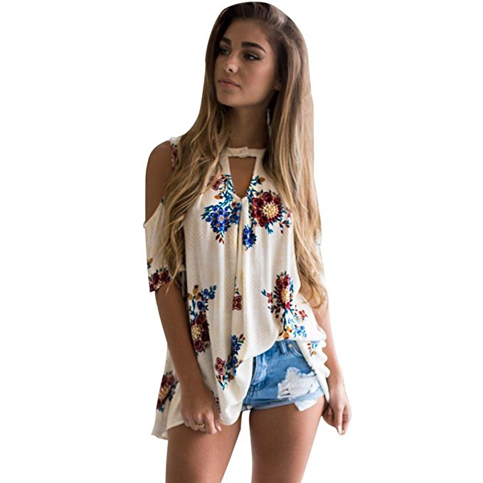 Clearance Sale! Women Shirts WEUIE Floral V Neck Print Loose Beach Ladies Casual T Shirt Tops Blouse Top White
