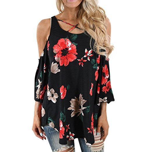 Clearance Sale! Women Shirts WEUIE Floral V Neck Print Loose Beach Ladies Casual T Shirt Tops Blouse Top Z02