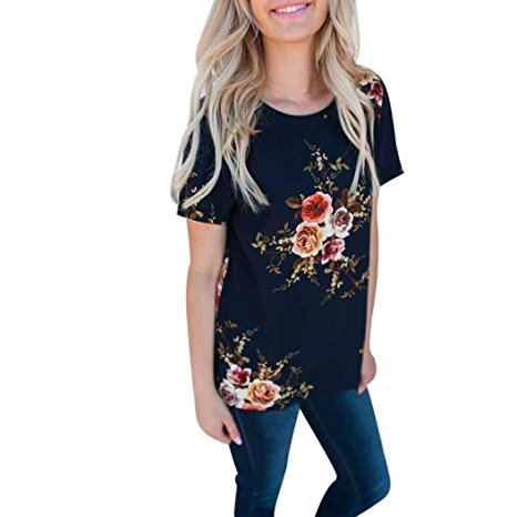 Women's Summer Casual Floral Printing T-Shirt Short Sleeve Chiffon Tops Blouse Navy