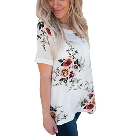 Women's Summer Casual Floral Printing T-Shirt Short Sleeve Chiffon Tops Blouse White-2