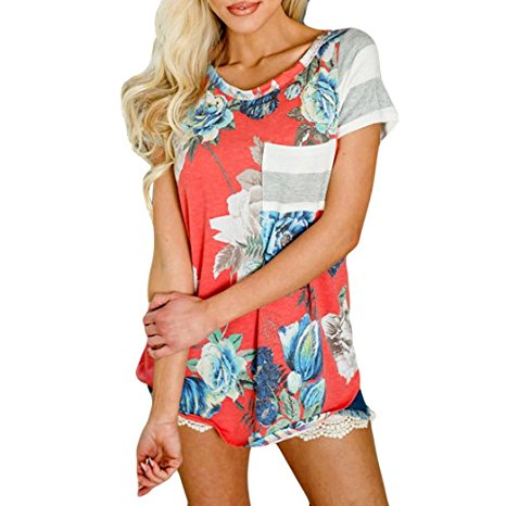 Women's Summer Casual Floral Printing T-Shirt Short Sleeve Chiffon Tops Blouse Red -2