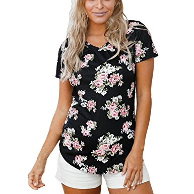 Women's Summer Casual Floral Printing T-Shirt Short Sleeve Chiffon Tops Blouse Black-1