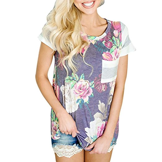 Women's Summer Casual Floral Printing T-Shirt Short Sleeve Chiffon Tops Blouse Purple