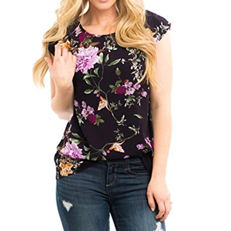 Women's Summer Casual Floral Printing T-Shirt Short Sleeve Chiffon Tops Blouse Black -2