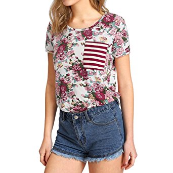 Women's Summer Casual Floral Printing T-Shirt Short Sleeve Chiffon Tops Blouse Multicolor -2