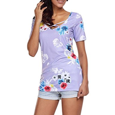 Women's Summer Casual Floral Printing T-Shirt Short Sleeve Chiffon Tops Blouse Purple -2
