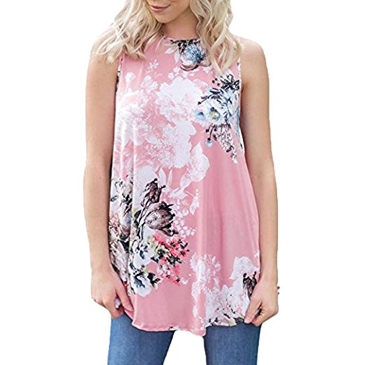 Women's Summer Casual Floral Printing T-Shirt Short Sleeve Chiffon Tops Blouse Pink -4