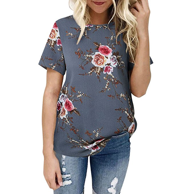 Clearance Sale! Women Shirts WEUIE Floral V Neck Print Loose Beach Ladies Casual T Shirt Tops Blouse Top Z06