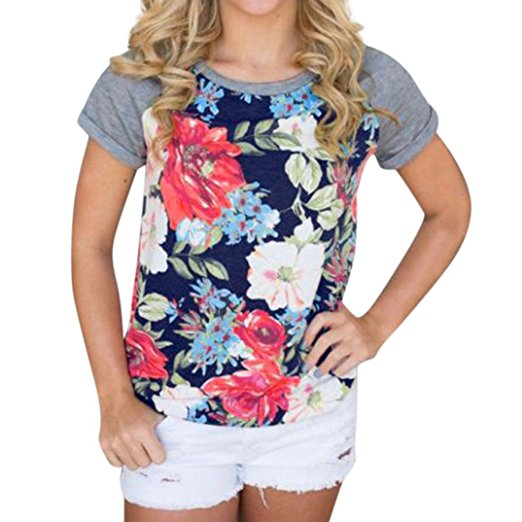 Women's Summer Casual Floral Printing T-Shirt Short Sleeve Chiffon Tops Blouse Navy -3
