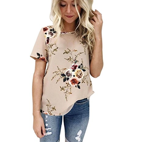 Clearance Sale! Women Shirts WEUIE Floral V Neck Print Loose Beach Ladies Casual T Shirt Tops Blouse Top Z05